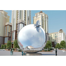 Moderno, grande, aço inoxidável, abstratos, artes, esfera, escultura, jardim, jardim, decoração