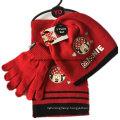 Custom Made Logo Cartoon Printed Red Winter Acrylic Knit Beanie Scarf Gloves Set