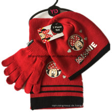 Kundenspezifische Logo-Karikatur gedruckte rote Winter-Acrylstrick-Beanie-Schal-Handschuh-Satz