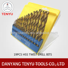 Набор для сверления спиральных сверл HSS 19шт. С покрытием TIN