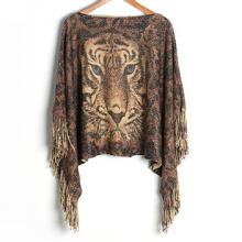 Женский свитер кардиган палантины с люрексом Тигр печать зимние вязаные шали пончо (SP611)