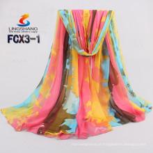 Lingshang mais recente design de seda sentir menina vestido de moda camuflagem cachecol cor chiffon atacado