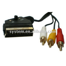3 RCA male Phono to Scart switchable cable