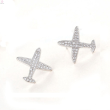Pendientes antialergénicos Stud Airplane Silver Jewelry, S925 Sterling Silver Airplane Earrings