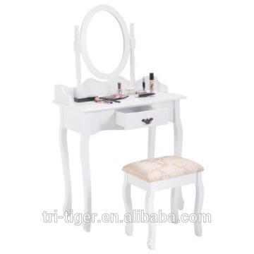 Vanity Wood Makeup Dressing Table Stool Set Jewelry Desk W/ Drawer &Mirror bathroom White
