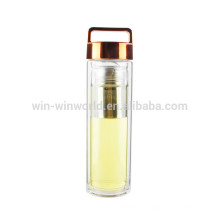 Recién llegado de regalo de navidad BPA libre a prueba de fugas ancha boca pared doble vaso de vidrio BorosilicateTea con tapa de cobre