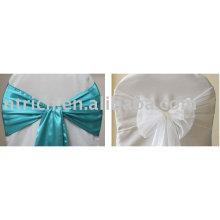 Fitas de cetim azul, faixas branca de organza, laços/envoltórios da cadeira