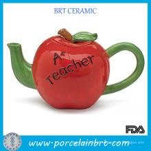 Bule de maçã de cerâmica com alça verde vermelha