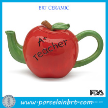 Red Body Green Handle Ceramic Apple Teapot