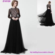 Nova moda manga longa vestido de noite elegante senhora magro vestido formal