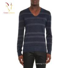Pull en laine mérinos à rayures et col en V de haute qualité pour hommes