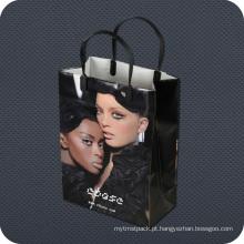 Saco de compras de plástico de luxo Premium com alça de clipe