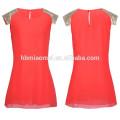Западная стильный плюс Размер рукавов лоскутная блестками короткие шифон платье шею с оборками платье женщин модель