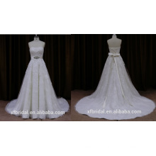 Lin065b Haute Qualité Jolie Dentelle Bretelles Robe de Mariée avec Ceinture