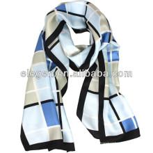 Homens e mulheres de alta qualidade de seda cachecol cheque temperamento / Xaile
