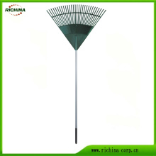 Plastic Leaf Rake with Long Steel Handle