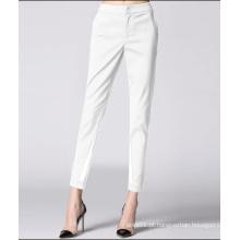 Verão novo estilo senhoras branco cor slim mulheres calça quente