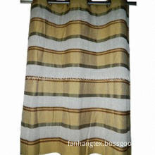 Stripe fabric made window curtain, size 140x260cm with 8 rings, standard export packing manner