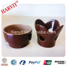 Pote de chocolate de porcelana / utensilios de cocina Quemador de pimienta de fondue de queso / Set de fondue de color marrón especial en forma de fondue