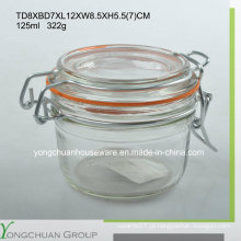 125ml vidro armazenamento jarro com tampa de vidro Clip Canister atacado