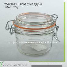 Стеклянная емкость для хранения 125 мл с зажимом Стеклянная крышка Оптовый канистр
