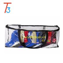 Saco de armazenamento de boné de beisebol Organizador de zíper de plástico transparente com alças pretas Vinil claro 16 par Underbed Shoe Chest