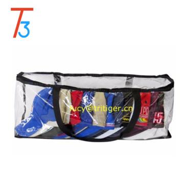 Baseball Cap Storage Bag Zipper Organizer Clear Plastic with Black Handles Clear Vinyl 16 Pair Underbed Shoe Chest