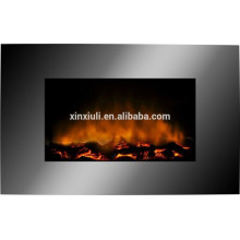 wall mounted fireplace with log fuel effect