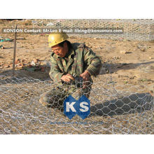 Hot Dip Galvanized Wire 2x1x1m Pvc Coated Gabion Boxes Preventing Of Rock Breaking