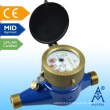 Compteur d'eau en laiton milieu homologuée au Multi Jet cadran sec