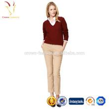 Мода V шеи вязаный джемпер для леди