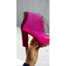 Ladies sexy transparent PVC boots chunky heel ankle shoes for women