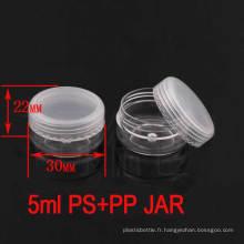 5g Clear Screw Lids Plastic Vazi pot de pot cosmétique, Travel Cream Jar
