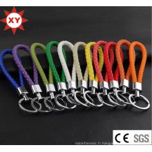 Keychain de cuir de tissage d'approvisionnement d'usine
