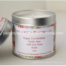 Vela perfumada personalizada de la lata de la fruta para la decoración
