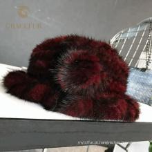 Wholesale mulheres naturais pele de vison chapéu de malha de inverno lady cap