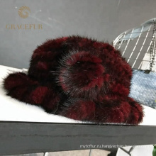 Оптовая женщин натурального меха норки вязаная зимняя шляпа леди кепка