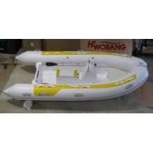 Barco inflável rígido de salão de fibra de vidro / tubo de PVC de 3,8 m