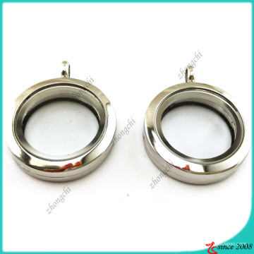 Plain 25 milímetros pingente de medalhão de vidro de prata (fl16041941)