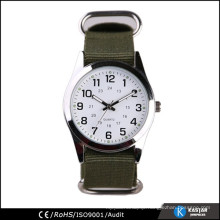 army green nylon strap quartz watch for men