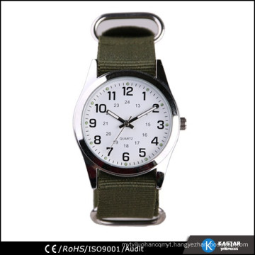 army green nylon strap quartz watch for men