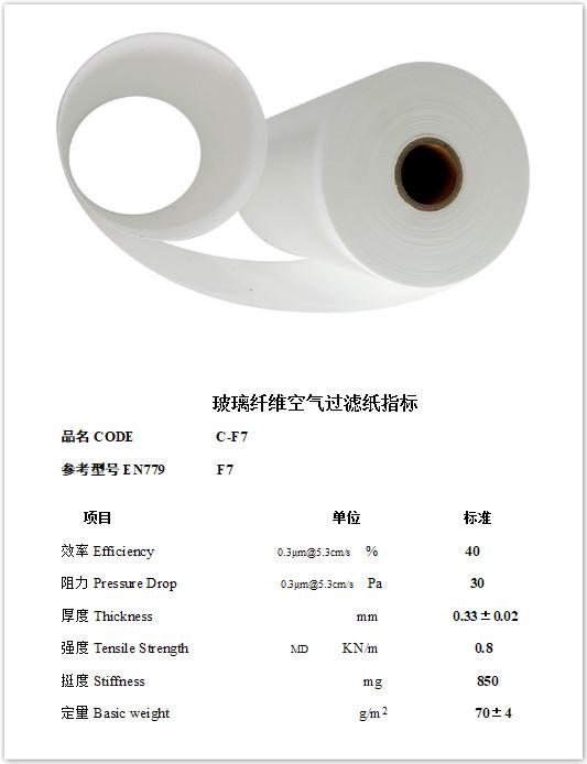 Glass Microfiber Air Filter Media F7