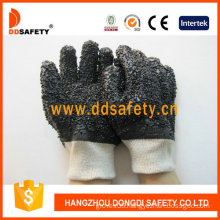 Ddsafety Black PVC Industrial Gloves, Rough Chip (DPV118)