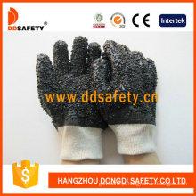 Luvas industriais do PVC do preto de Ddsafety, microplaqueta áspera (DPV118)