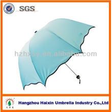 Blaue Spitze Mode 3 Falten Kuppel Regenschirm groß