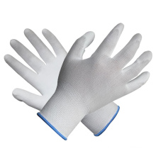 Polyester Knit Glove Palm Fit White PU Gloves Coated Safety Work Glove with Ce