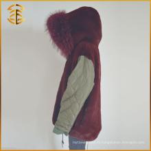 Hot Selling Cheap Women Raccoon Zipper Faux Fur Parka