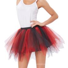 Kate Kasin Mujeres Soft Tulle Netting Rojo y Negro Enagua Enagua Crinolina para Retro Vintage KK000447-4