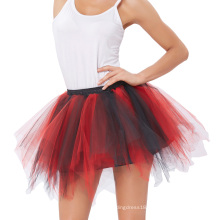 Kate Kasin Women's Soft Tulle Netting Red&Black Petticoat Crinoline Underskirt for Retro Vintage Dress KK000447-4