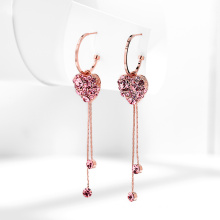 LOVE Heart Shaped 925 Tassel Silver Earrings With safety Pin
